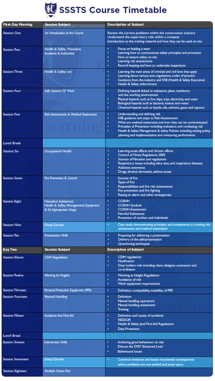 sssts- Manchester -timetable