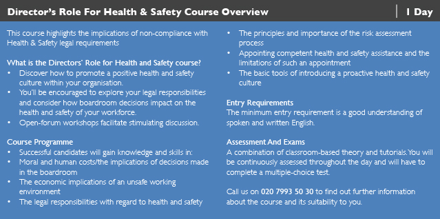 Directors Role for Health and Saftey