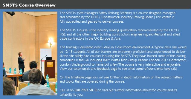 Birmingham SMSTS Course provider